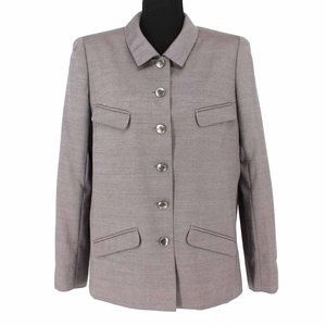 CHANEL Wool/Mohair Grey Button Down Pant Suit 42